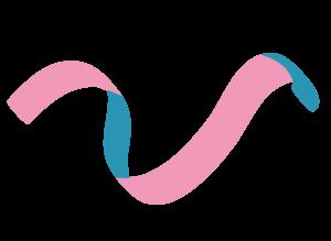 Veera-hankkeen v-logo, monivärinen pinkki-turkoosi