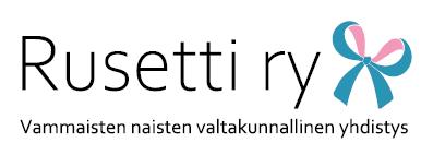 Rusetti ry:n logo turkoosilla rusetilla ja yhdistyksen sloganilla Valtakunnallinen vammaisten naisten yhdistys Rusetti ry