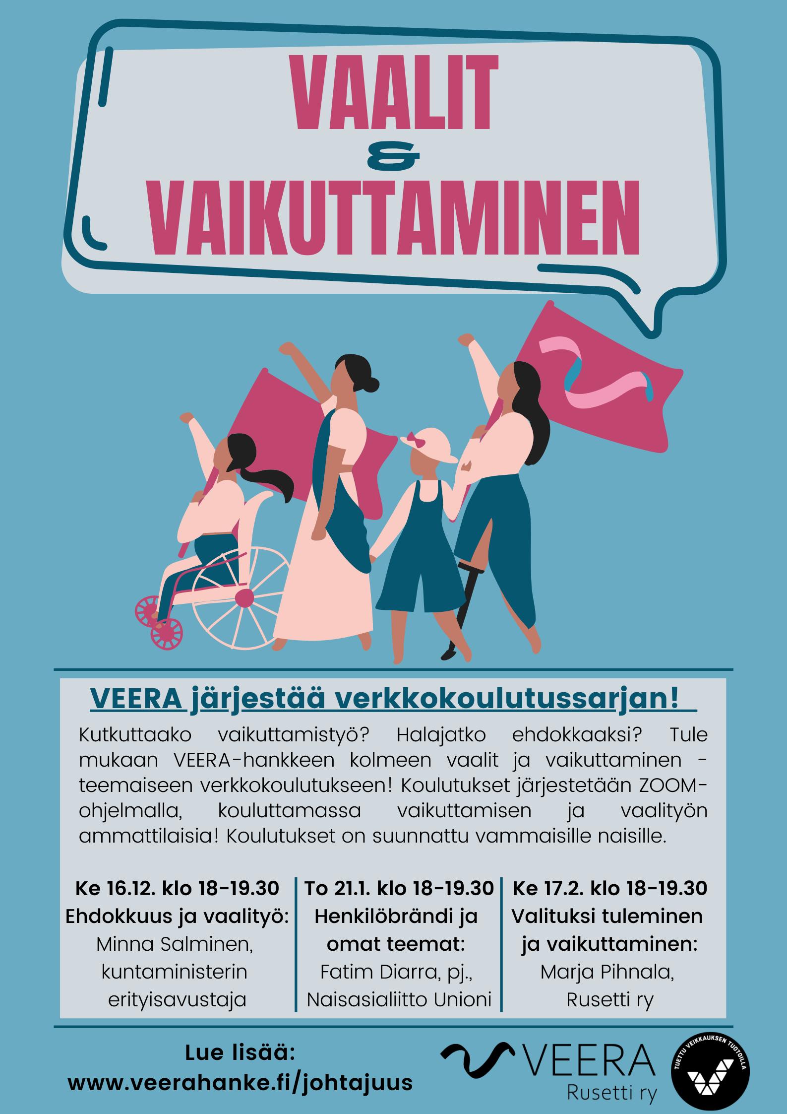 verkkokoulutussarjan mainos, piirros jossa erilaisia vammaisia naisia marssi lippu kädessä.